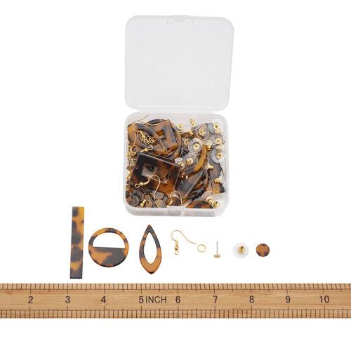 24Set DIY Dangle Earring Making With Mini Resin Pendants/&Stud Earring Setting