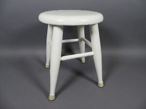 "Antique 16"" Farmhouse Wooden Painted Stool Shabby Chic Stool"