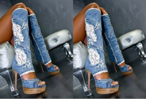 New femmes Open Open Open Toe Denim Slim Wedge Heel Knee High bottes chaussures Sz Hot 35-41 ef18dc