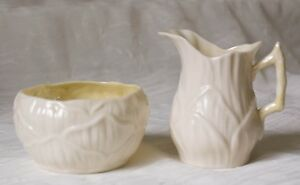 Belleek-Ireland-1st-Green-Mark-Lily-White-Sugar-and-Creamer-Yellow-Lustre