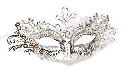 Laser Cut Metal Venetian Mask Masquerade Mardi Gras  Silver White w/Rhinestone