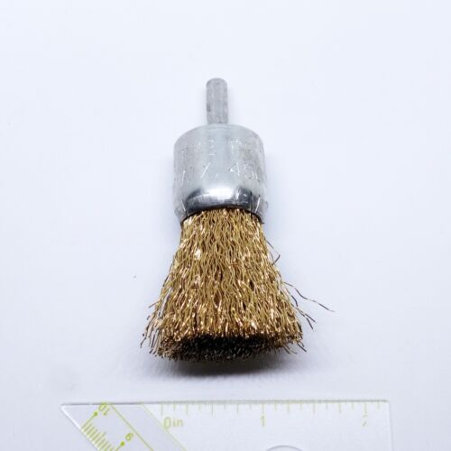 "1/"" Crimped Wire End Brush Carbon Steel with 1//4/"" Shank for Die Grinder or Drill"