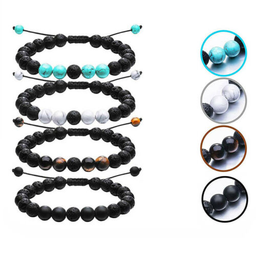 Fashion Natural Volcanic Rocks Beads Adjustable Bracelet Bangle Jewelry G npPTH