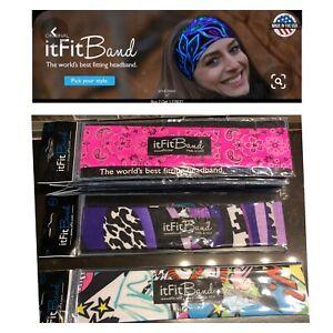 Retired ItFitBand Made In USA Headband Women's Hair Wrap Yoga Pink Bandana