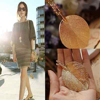 Vintage Women Lucky Golden Leaf Pendant Necklace Long Chain Sweater Jewelry Gift