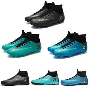 a02834c8494 Mens Indoor Soccer Cleats Shoes TF Hign Top Soccer Football Trainers ...