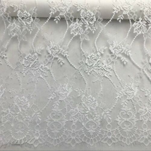 Flower Lace Tulle Mesh Fabric Embroidery Scalloped Bridal Skirt Cloth 150*150CM
