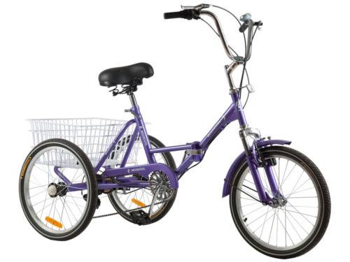 "Folding Adult Bike 20/"" Tricycle Bicycle 3Wheel 7Speed Tricycle Trike Cruise Bike"