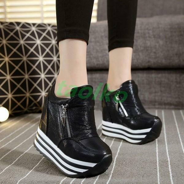 Fashion Women's Platform High Top Sneakers Sport Hidden Wedge Heel Casual Shoes