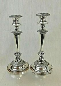 A Pair of Vintage, Silver-Plated, Candlesticks
