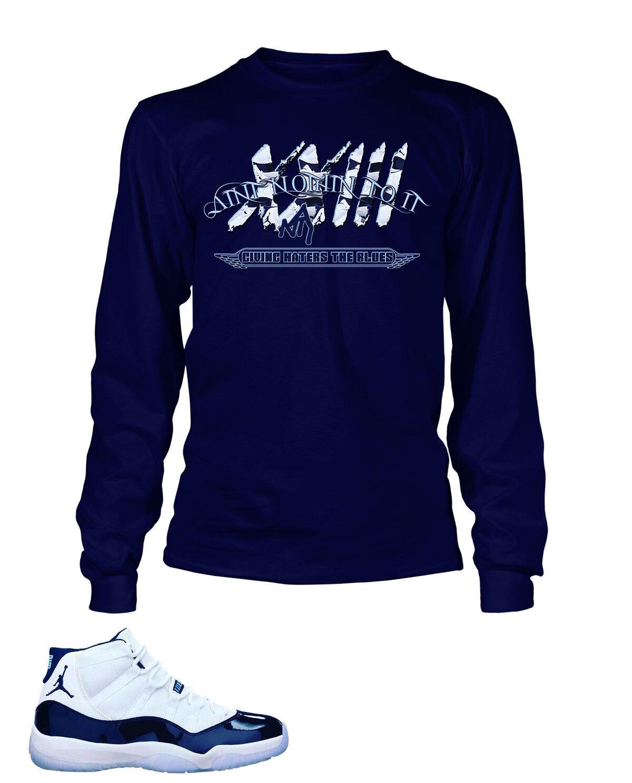 93c020ee8c5fad 23 ANTI Tee Shirt AIR JORDAN 11 Navy Long Sleeve Pro Club Tee Match ...