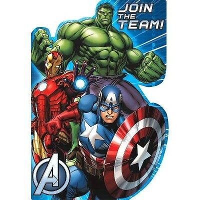 Avengers Licensed Birthday Party Postcard Invitations NEW Sealed in Pack