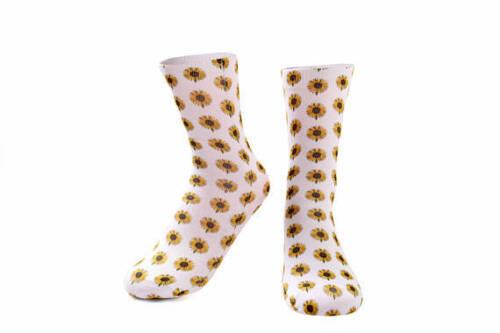 Sunflower socks. Daisy photo print socks