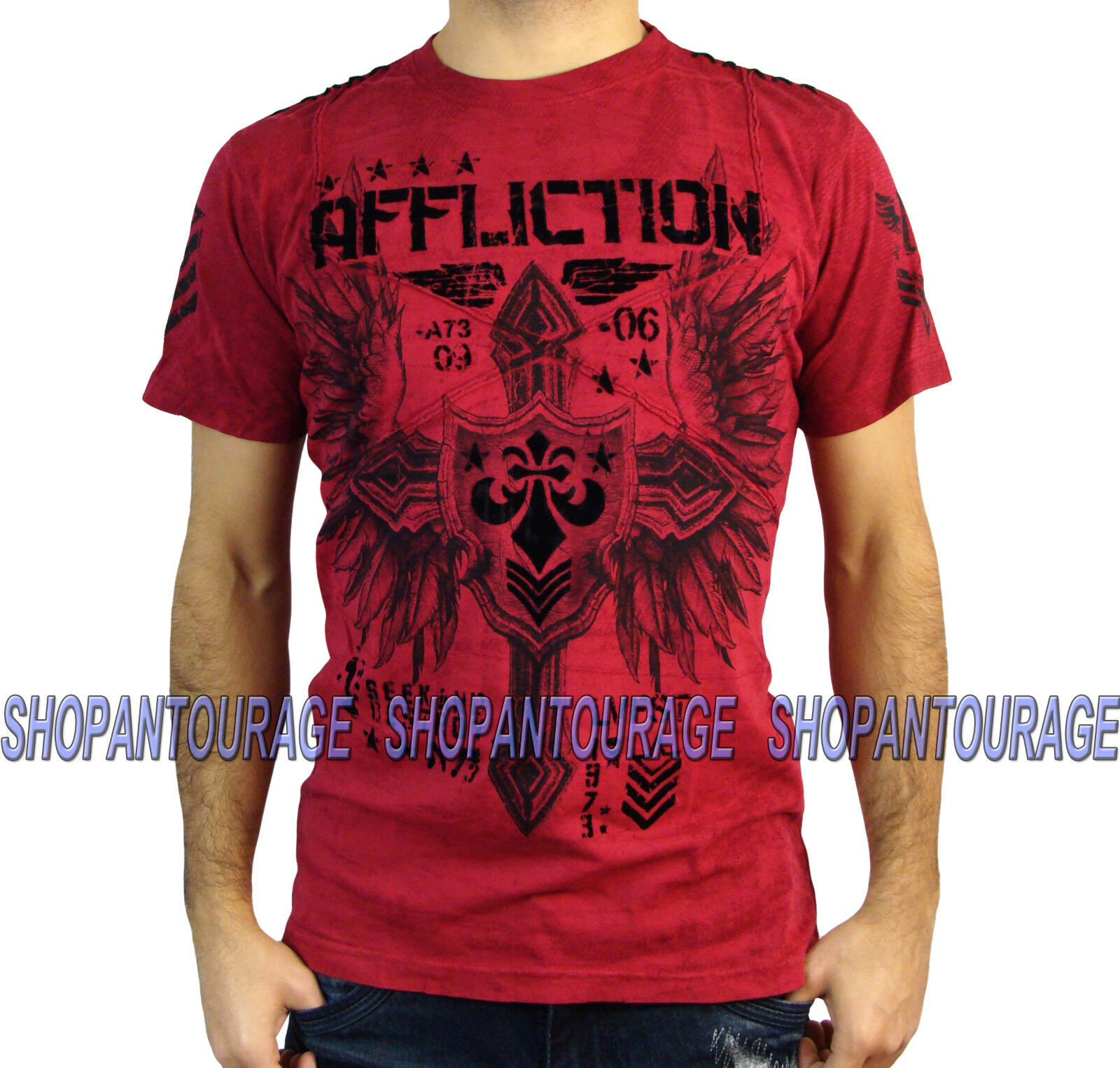 AFFLICTION Combination A12809 Men`s New rot T-shirt