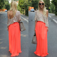 Fashion Women Double Layer Chiffon Pleated Long Maxi Dress Long Dress Skirt 6-14