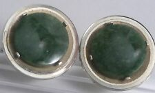 Vintage Dante Genuine Green Jade Round Disk Gold Plated Cufflinks