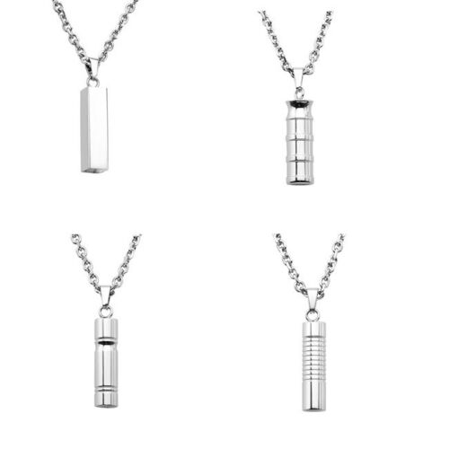 Stainless Steel Cylinder Openable Memorial Urn Ash Keepsake Pendant Necklace-am