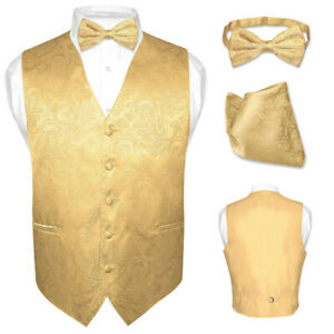 Men PAISLEY Design Dress Vest /& Bow Tie /& Hankie Set For Suit or Tuxedo 6 COLORS