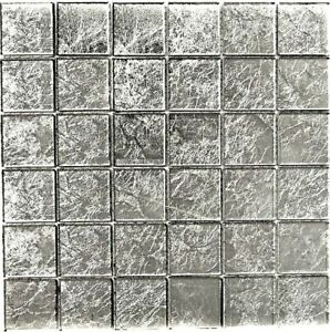 Dettagli su Mosaico piastrella vetro argento struttura muro cucina  bagno:68-4SB21_b|1 foglio