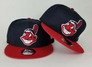 bb2437f28d754d New Era Team Color Navy / Red Cleveland Indians 9Fifty Snapback Hat ...
