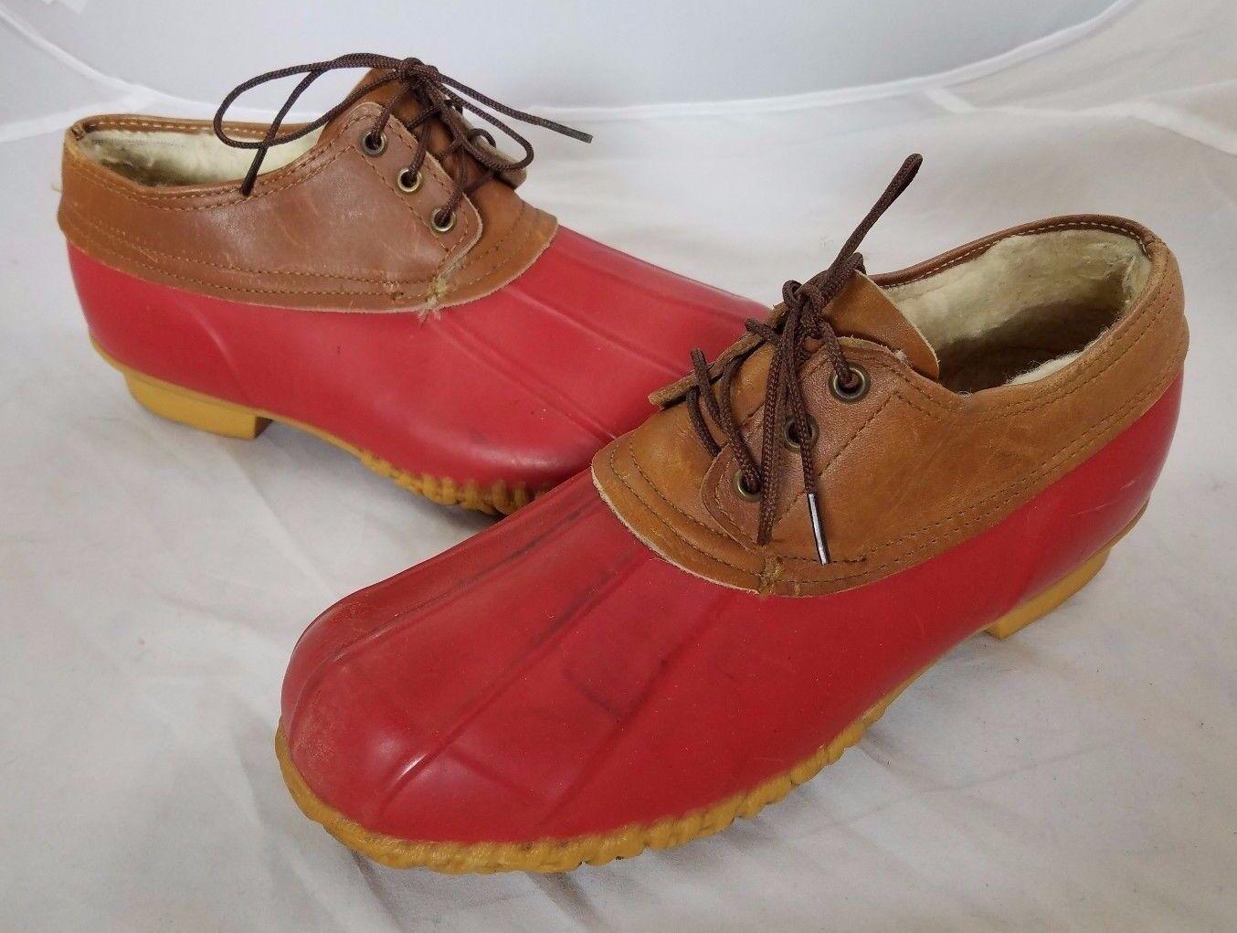Vintage Sherpa Borreguillo Forro Polar Rojo Pato de Goma bajo botas Mujer 8