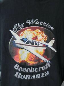 SKY-WARRIOR-BEECHCRAFT-BONANZA-Black-Tee-T-Shirt-mens-XL-plane-airplane-aircraft