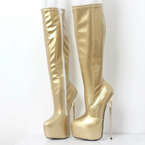 Details about  /Sexy Women/'s Men Patent Leather Boots High Heels 22cm Makeup Shoes Size 36-46