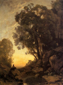 Excellent-Oil-painting-Corot-The-Italian-Goatherd-Evening-landscape-24-034-x36-034
