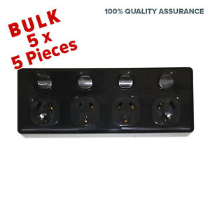 5X-4-Gang-Double-Pole-Power-Point-Outlet-Black-GPO-Quad-Socket-and-Switch-Outlet