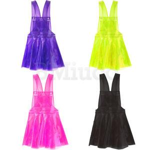 863e7df888 Womens Hologram Suspender Skirt PVC Dress Transparent Harajuku ...