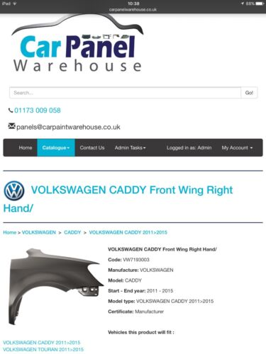 VW TOURAN 2011/> Front Wing RH Right OS Offside Drivers VOLKSWAGEN