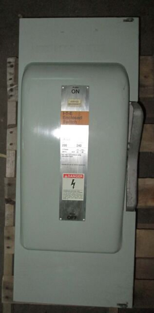 Ite 200 Amp Fused Safety Switch 240 Vac 60 Hp 3 Phase Jn424