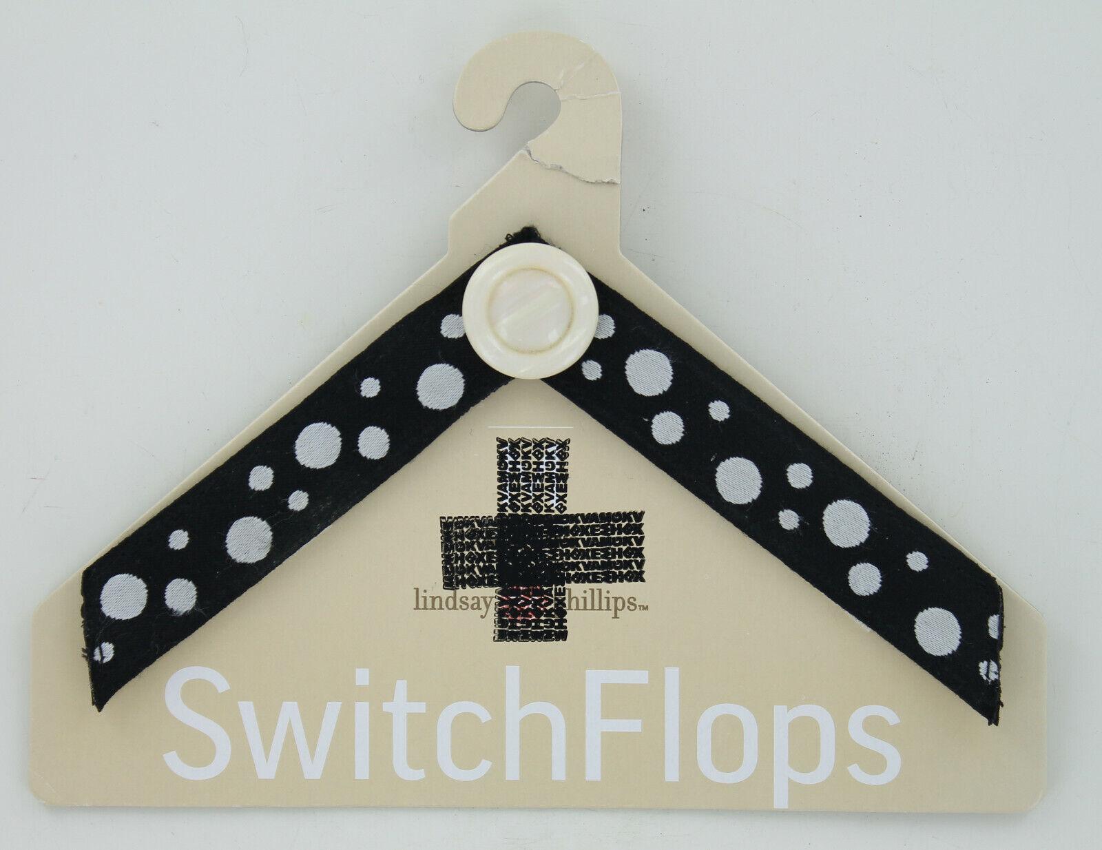 Lindsay Phillips SwitchFlops Straps - Black w/ White Polka Dots - Size Small