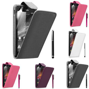 Piel-Artificial-Funda-Protectora-de-Movil-con-Tapa-para-Sony-Xperia-L