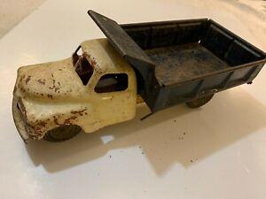 Antique vintage toy metal pressed tin large white dump truck