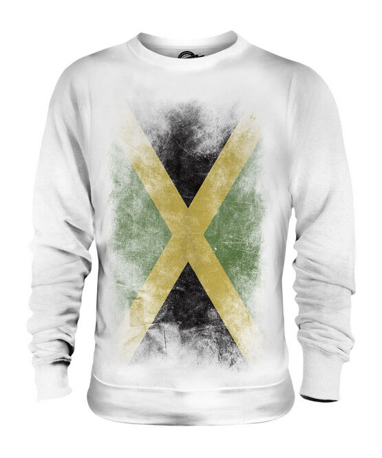 JAMAICA FADED FLAG UNISEX SWEATER TOP JAMAICAN SHIRT FOOTBALL JERSEY GIFT