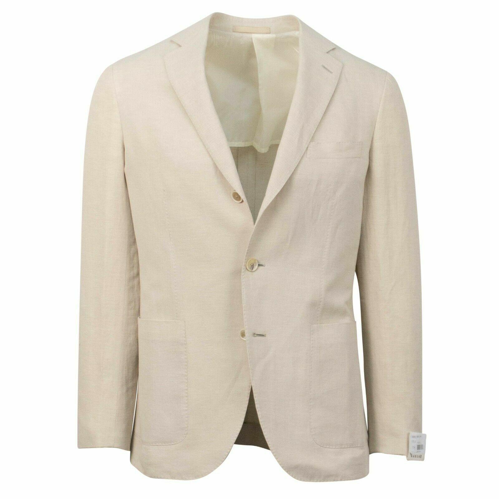 NWT CARUSO Tan Linen Blend 3 Roll 2 Button Sport Coat 46 36 R Drop 8