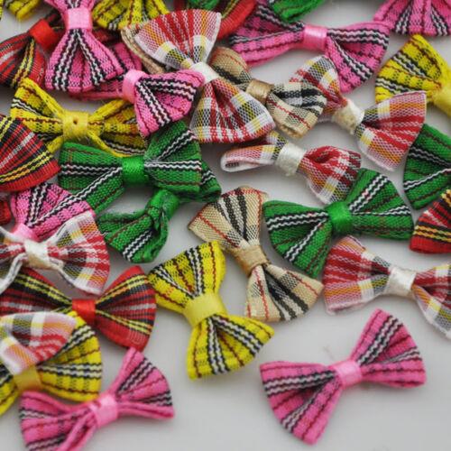 20//60//300pcs tartan plaid Gingham Ribbon Bows Flower Appliques Lots Upick A234