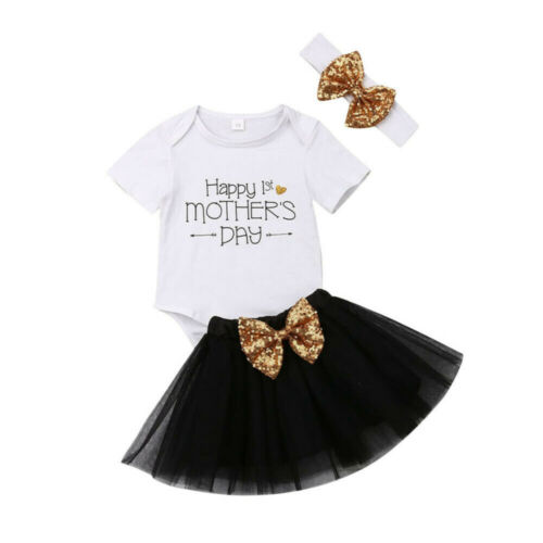 US Newborn Baby Girls Mothers Day Jumpsuit+Princess Tulle Dress Sunsuit Outfits