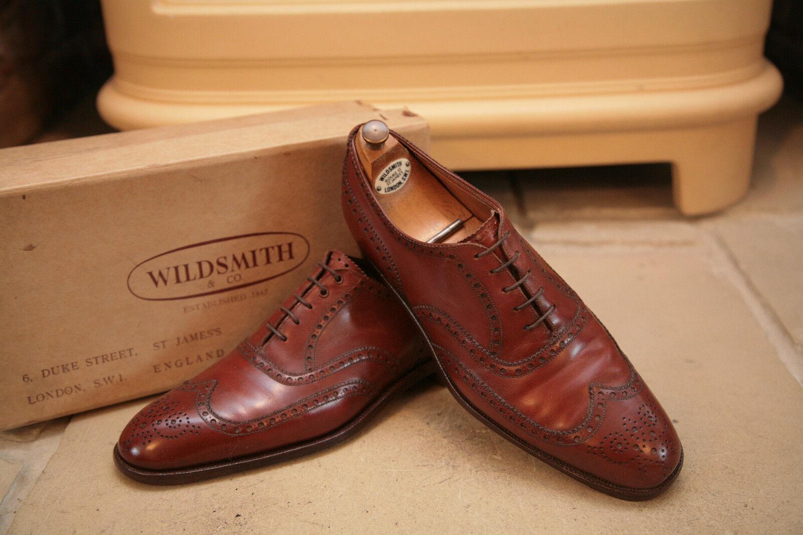 RARE Vintage Wildsmith Uomo Marrone Pelle Scarpe CALATA 8 stretto Scarpe classiche da uomo