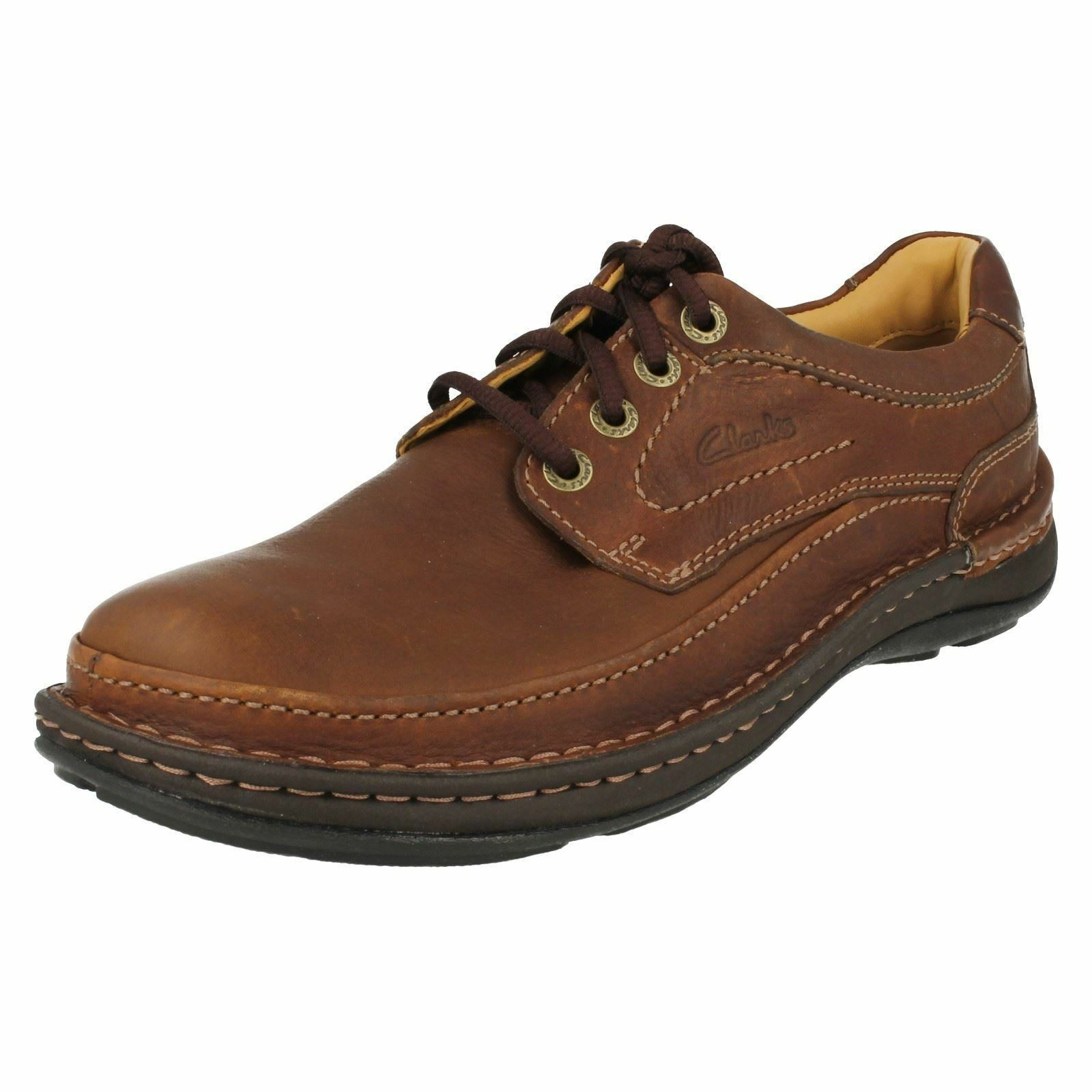 Da Uomo Clarks Nature Lacci Three Mogano Marrone Pelle Lacci Nature Casual Scarpe G RACCORDO 4cd548
