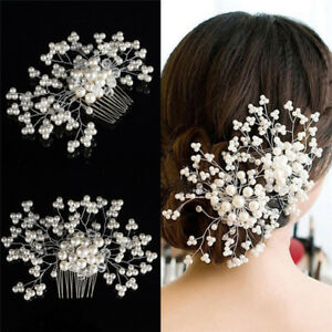 Flower-Wedding-Hair-Pins-Bridesmaid-Crystal-Diamante-Pearls-Bridal-Clips-Grip-RS