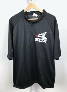 Chicago White Sox Warm Up Shirt Zip Neck Short Sleeve Black 80s Coca Cola SGA XL