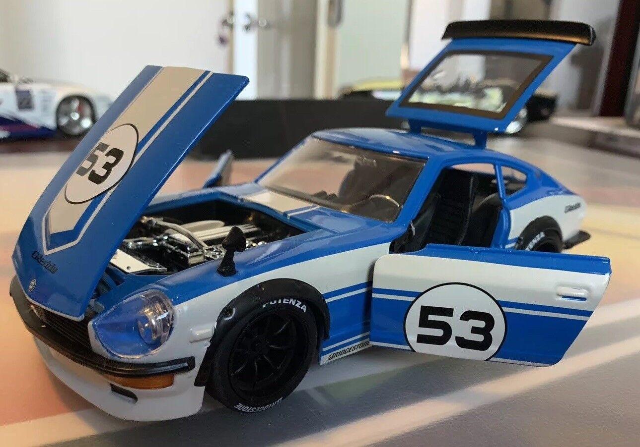 24 display gelegentliche tuner 1972 datsun 240z   53 Blau - box 99102-dp1 jada selten