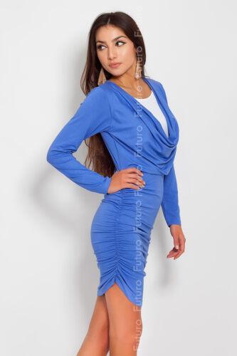 Elegant /& Trendy Damen Minikleid Falten Rollkragen Tunika Größe 3-5.5m479