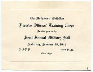 1941 HOLLYWOOD BATTALION ROTC Military Ball Invitation eBay