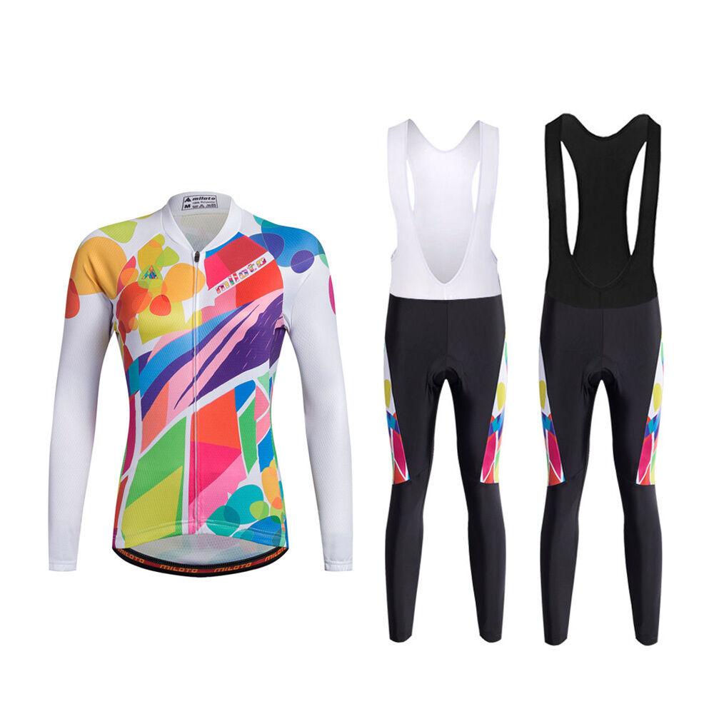 colorful Womens Cycling Bib Kit Long Sleeve Jersey &  Padded Bib Tights Pants Set  ultra-low prices