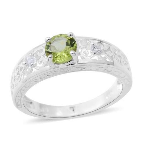 T /& U L UK Sizes J 0.88ct Peridot /& Zircon Ring in 925 Sterling Silver