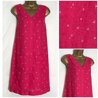 M/&S Size 10 Petite Linen Blend Shift Tunic Summer Dress Navy Red White 35L