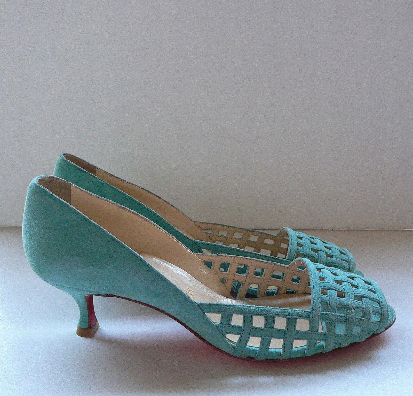 Christian Louboutin Aqua Gamuza enjaulado Zapatos De Salón Salón Salón 37  Todos los productos obtienen hasta un 34% de descuento.